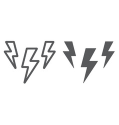 lightning line and glyph icon storm and forecast vector image
