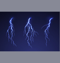 Lightning thunderstorm on dark background blue vector