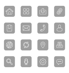 Line web icon set on gray rounded rectangle vector