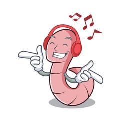 Listening music worm mascot cartoon style vector