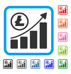 litecoin growing graph trend framed icon vector image