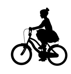 Little girl in a dress riding bicycle silhouette vector