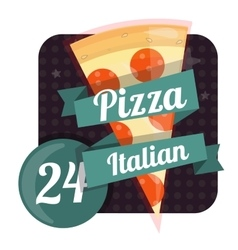 Logo pizza 24 hours around the clock Fast food vector