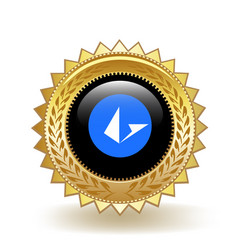Loopring cryptocurrency coin gold badge vector