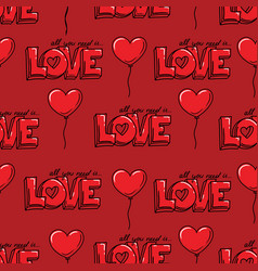 love seamless pattern with heart shaed balloon and vector image