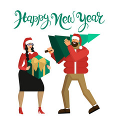 man and woman in santa hats married couple or vector image