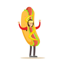 man wearing hot dog costume fast food snack vector image