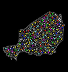 Mesh polygonal map of niger with bright light vector