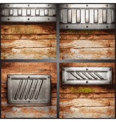 Metal and wood background set vector