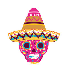 Mexican skull with hat isolated icon vector