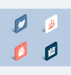 Mint leaves salary employees and debit card icons vector