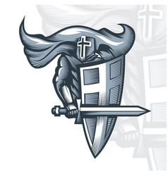 Monochrome knight crusader vector