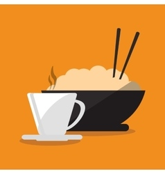 Mug and noodle of fast food concept vector