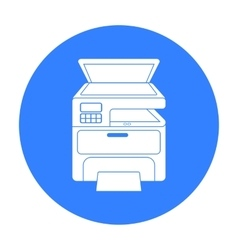 Multi-function printer in black style isolated on vector