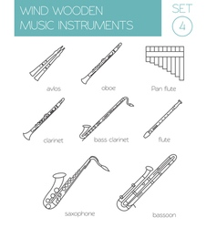 Musical instruments graphic template Wind wooden vector