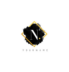 n letter logo design with black stroke and golden vector image