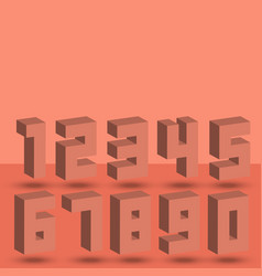 Numbers set of coral halftone 3d isometric style vector