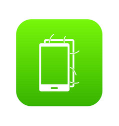 opened phone icon digital green vector image