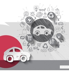 Paper and hand drawn car emblem with icons vector