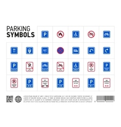 Parking zone sign isolated icon set vector image