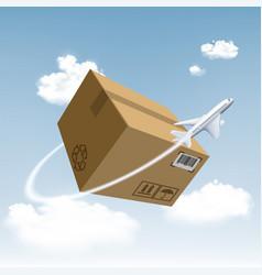 plane flies around the cardboard box vector image
