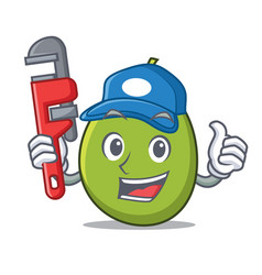 Plumber olive mascot cartoon style vector