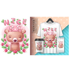 Pretty bear - poster and merchandising vector