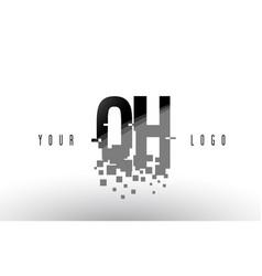 qh g h pixel letter logo with digital shattered vector image