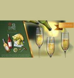 realistic wine colorful template vector image