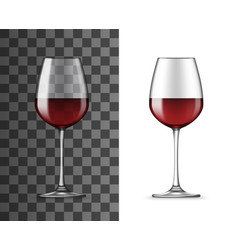 Red wine glass 3d isolated realistic vector