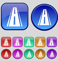Road icon sign A set of twelve vintage buttons for vector