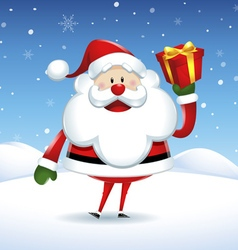Santa Claus happy holding a gift box in Christmas vector image