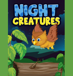 scene background design with word night creatures vector image