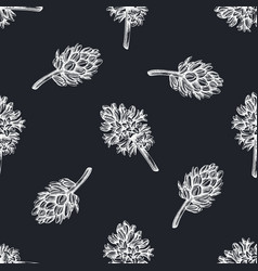 seamless pattern with hand drawn chalk hyacinth vector image