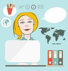 Secretary Flat Design on Blue Background vector image