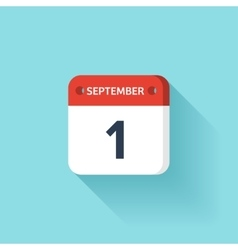 September 1 Isometric Calendar Icon With Shadow vector