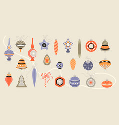 set christmas decorations in retro style vector image