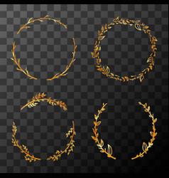 Set cute golden detailed flower wreaths on vector