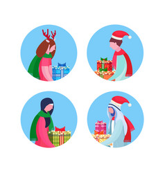 set mix race people holding gift box happy new vector image