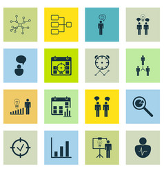 Set of 16 administration icons includes bar chart vector