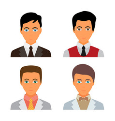 set of 4 avatar icons in flat design vector image