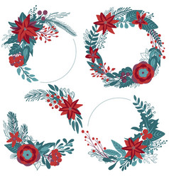 Set of christmas floral wreaths with winter vector