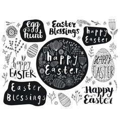 Set of easter hand drawn lettering eggs vector