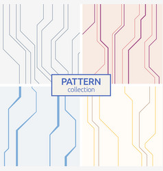set of four abstract seamless patterns of lines vector image