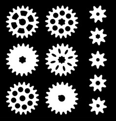 Set of gears on a dark background vector