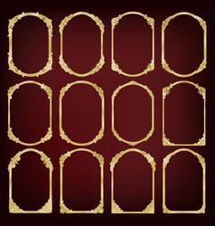 set of golden vintage frame vector image