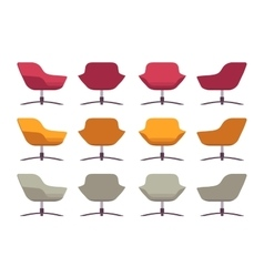 Set of retro armchairs crimson orange and grey vector