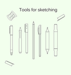 set of tools for sketching vector image vector image