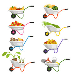 set of wheelbarrows with different fruits and vector image