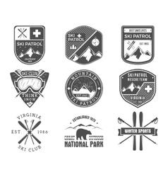 set ski club patrol labels vintage mountain vector image